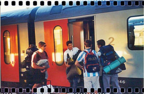 Llegando a Gante (Bélgica) en el Interrail 2001